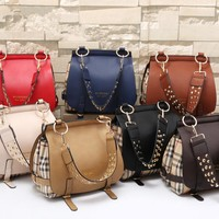 """Burberry"" Women Fashion Multicolor Tartan Stripe Double Layer Rivet Wide Shoulder Strap Single Shoulder Messenger Bag Handbag"