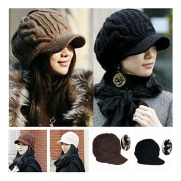 VONESC6 New Arrival Peaked Cap Women Hat Winter Caps Knitted Hats For Woman Lady's Headwear Cloth Accessory