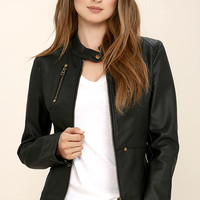 Peace of Mind Black Vegan Leather Moto Jacket