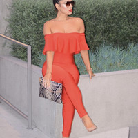 Alex Stylish Bandage Jumpsuit in Red