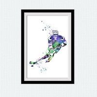 Hockey poster Hockey player colorful poster Hockey player watercolor print Sport wall decor Home decoration Kids room wall poster W382