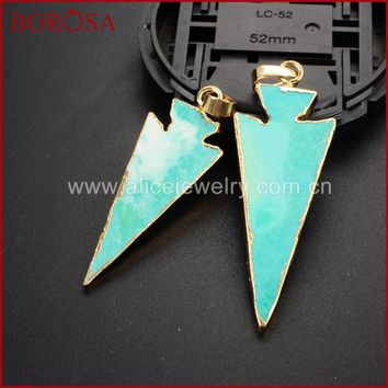 BOROSA New Druzy Arrow Stone Green Natural Stone Arrowhead Gold Green Howlite Pendant Beads for Necklace Women Jewelry WX397