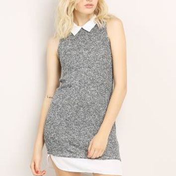 Sleeveless Collar Short Dress