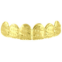 Dollar Sign Money Top Teeth Grillz 14k Yellow Gold Finish