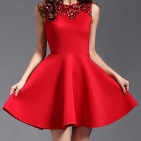 Red Sequined Sleeveless Flounce Dress