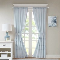 Madison Rod Pocket Window Curtain Panel Pair in Aqua