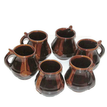 Unique Wine Glasses / Set of 6 pieces of Ceramic Wine Glasses / Bulgarian Pottery 70's / Painted Ceramic Mugs / Gift idea