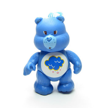 Grumpy Bear Poseable Vintage Care Bears Toy Blue Figurine with Rain Cloud Belly Badge