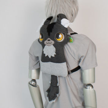 Gray Wolf Backpack, Bag, Plush Animal, Handmade