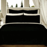 Black Solid Down Alternative 4-pc Comforter Set 100% Egyptian cotton 550TC