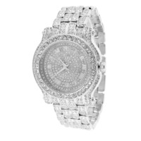 White Gold Tone Watch Iced Out Simulated Diamonds