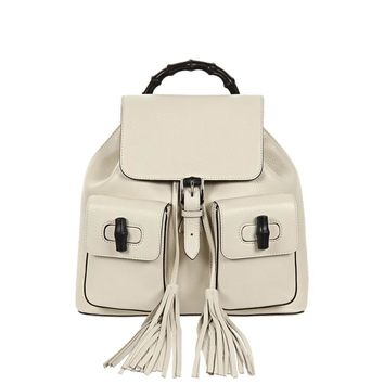 Gucci Bamboo Handle Leather Pocket Toggle Backpack 370833, Mystic White