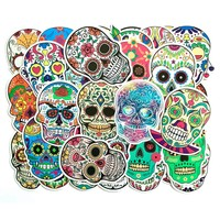 50Pcs Colorful Skull Car PVC Sticker Sugar Skull Stickers Car Sticker Skateboard Laptop Luggage Decals