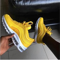 Nike Air Max 97 Popular Women Men Casual Air Cushion Sport Running Shoes Sneakers Yellow I/A