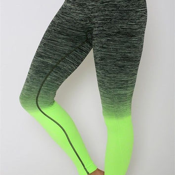 Get Your Zen on Ombre Leggings-Lime