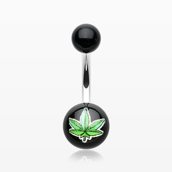 Pot Leaf Acrylic Logo Belly Button Ring