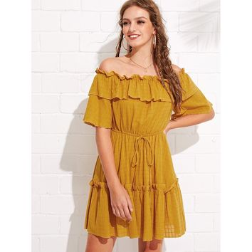 Ginger Off Shoulder Half Sleeve Tiered Ruffle Mini Dress