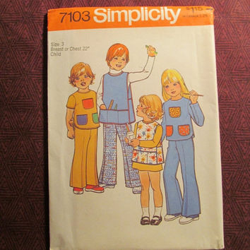 Sale Uncut 1970's Simplicity Sewing Pattern, 7103! Size 3 Toddlers/Art Apron/Long Sleeve Shirts/Short Sleeve Shirts/Bell Bottom Pants/Button