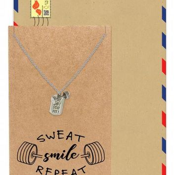"Franz Dumb Bell Pendant Necklace with ""Get Fit Stay Fit"" Inscription on a Plate, Male Necklace"