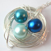 Birds Nest Pendant Necklace Blue Pearl - Royal Blue, Teal & Aqua Glass Pearls Beaded Wire Wrapped Nature Woodland