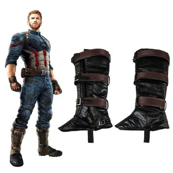 Avengers Infinity War 3 Cosplay Boots Cover Captain America Steven Rogers Shoes Cover Hero Accessories Props Adult Men Halloween