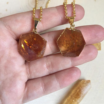 Citrine Hexagon Necklace / Hexagon Crystal Necklace / Gold Citrine Necklace