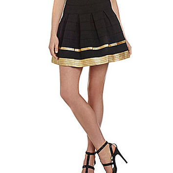 Alythea Metallic-Trim Skater Skirt - Black/Gold
