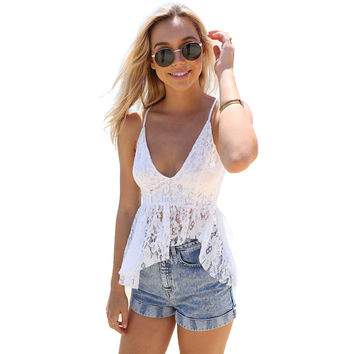 New Fashion Women Lace Bralette Top Deep V Neck Spaghetti Strap Floral Crochet Crop Tops Sexy Cropped Feminino Camisole