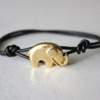 Elephant Leather Bracelet in Gold (14 Leather Cord Colors Available)
