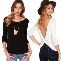 Ladies Black Criss Cross Open Back Casual 3/4 Sleeve T Shirt Blouse