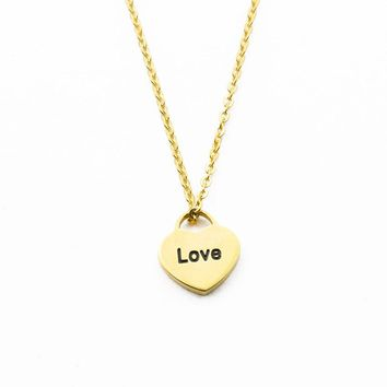 love Carved Gold Color Love Heart Pendant Necklace for Women Romantic Charms Link Chain Necklace & Pendant Lovely Valentine Gift