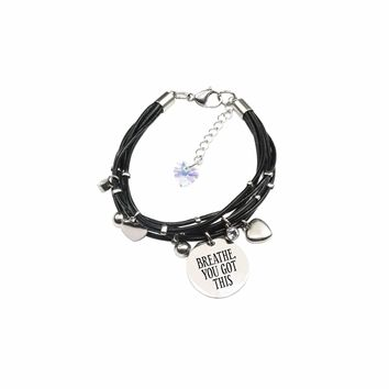 Genuine Leather Bracelet Made With Crystals From Swarovski - Breathe You Got This