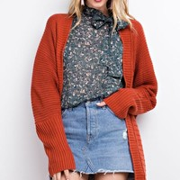 Long Sleeve Knit Cardigan in Burnt Orange