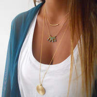 Boho Chic Layered Necklace ; Triple Layered Gold Necklace Set ; Long Boho Necklace ; Gold Necklace Set
