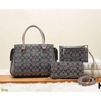 COACH Classic Fashion Women Leather Tote Shoulder Bag Crossbody Satchel Wallet Set Three Piece Grey