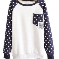 Mooncolour Women Girls Cute Polka Dot Front Pocket Fleece Warm Sweatshirt