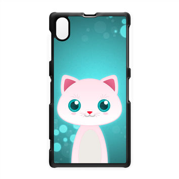 White Cat Hard Plastic Case for Sony Xperia Z1 by DevilleArt