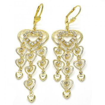 Gold Layered 02.270.0037 Long Earring, Heart Design, with White Crystal, Diamond Cutting Finish, Golden Tone