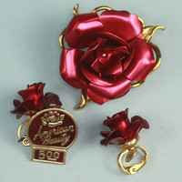 American Beauty Red Rose Brooch and Clip Earrings Original Tag Vintage