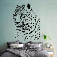 Cheetah Wall Decal Zoo Vinyl Stickers Safari Decals Leopard Wild Cat Decal Art Mural Home Design Interior Animals Living Room Decor KI164