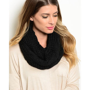 Black Warm Winter Infinity Scarf