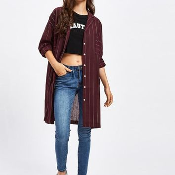 Striped Long Shirt With Chest Pocket