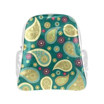 Personalized Backpack Retro Green Paisley Pockets Unisex Classic School Bag