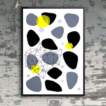 Large Poster A3 Monochrome Art Print Black Grey and Yellow Asbtract Geometric