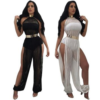 White 2017 Sexy Mesh Rompers Women Jumpsuit Sleeveless Long Hollow Out Fashion Black Jumpsuits Club Overalls