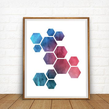 Geometric Print, Honeycomb Art, Hexagon Art Print, Geometric Artwork, Modern Home Decor, Abstract Art Poster, Geometric Abstraction Poster