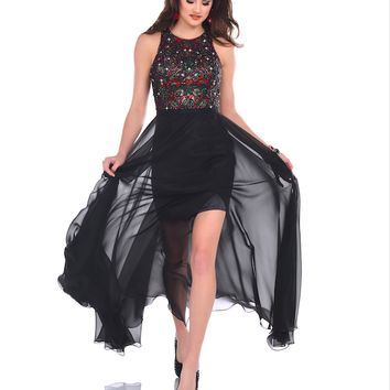 Karishma 17552 Fitted Dress with Sheer Skirt