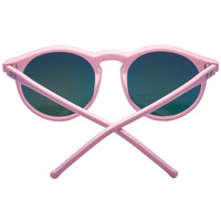 Pink Star Detail Mirror Lens Round Sunglasses