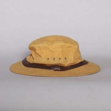 Vintage 80s FILSON HAT / 1980s Men's Tan Tin Cloth Packer Fedora Style