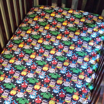 Marvel Kawaii packed Characters fitted crib sheet